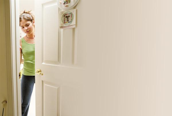 szoba, gyerek, ajtó
