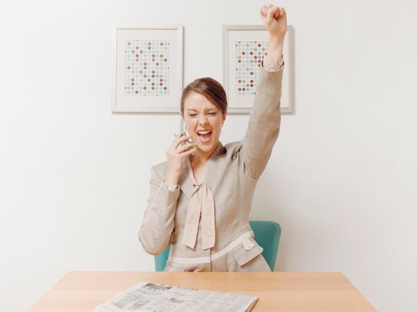 Businesswoman Cheering