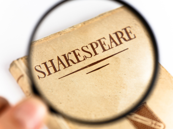 Book Cover by Shakespeare under a Magnifying Glass