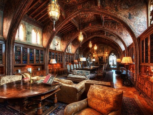 hearst kastély-gótikus könyvtár