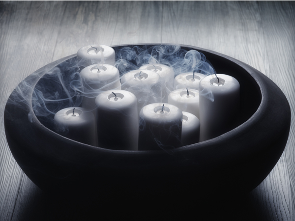 Bowl with blown out candles