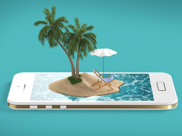render of tropical island resort with blue sea ocean water