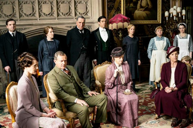 Downton Abbey, Season 5 MASTERPIECE on PBS Sundays, January 4 - March 1, 2015 at 9pm ET Episode 2 Rose hits on a strategy to get a radio in the house. Sarah tutors Daisy. An art historian arrives. Anna makes a difficult purchase. SHOWN: BRENDAN COYLE as John Bates, ELIZABETH McGOVERN as Cora, Countess of Grantham, PHYLLIS LOGAN as Mrs Hughes, HUGH BONNEVILLE as Robert, Earl of Grantham, JIM CARTER as Mr Carson, ROBERT JAMES-COLLIER as Thomas, MAGGIE SMITH as Violet, Dowager Countess of Grantham, JOANNE FROGGATT as Anna, LESLEY NICOL as Mrs Patmore, PENELOPE WILTON as Isobel Crawley and SOPHIE McSHERA as Daisy (C) Nick Briggs/Carnival Film & Television Limited 2014 for MASTERPIECE This image may be used only in the direct promotion of MASTERPIECE CLASSIC. No other rights are granted. All rights are reserved. Editorial use only. USE ON THIRD PARTY SITES SUCH AS FACEBOOK AND TWITTER IS NOT ALLOWED.