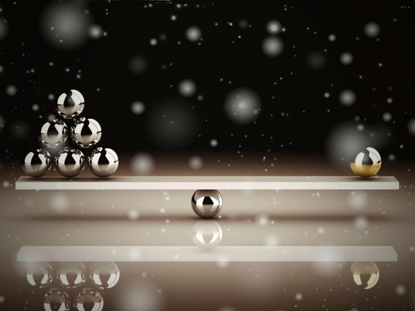disbalance on white background (high resolution 3D image)