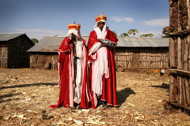Priest Addisu, 23, and his new bride Destaye, 11, are married in a traditional Ethiopian Orthodox wedding in the rural areas outside the city of Gondar, Ethiopia on Feb. 4, 2008. Since Addisu is a priest, it was necessary that he only marry a virgin.