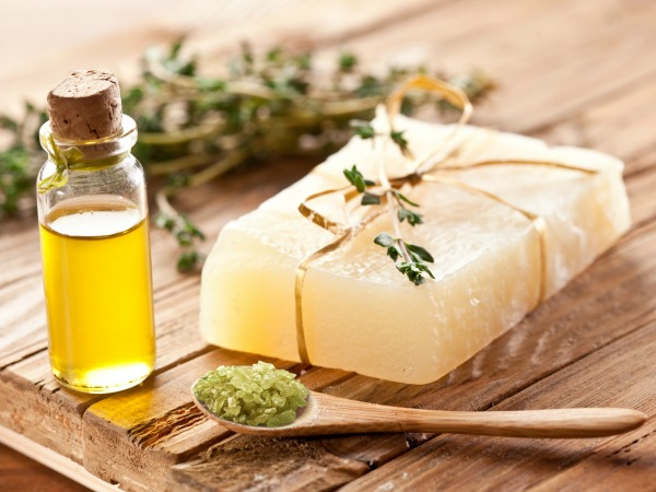 Piece of natural soap with thyme.