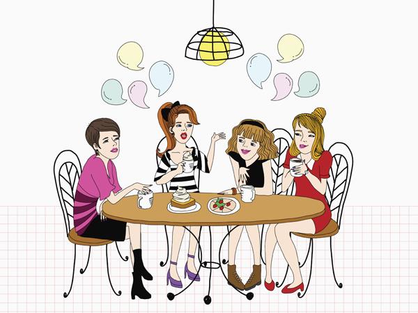 An illustration of girls having coffee