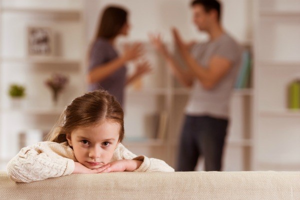Сhild suffering from quarrels between parents in the family at home