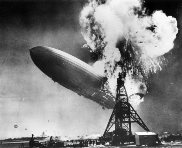 The Hindenburg disaster at Lakehurst, New Jersey, which marked the end of the era of passenger-carrying airships. (Photo by Sam Shere/Getty Images)