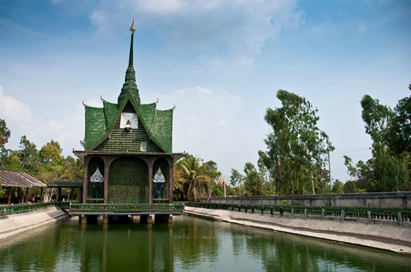 """The main building at Wat Pa Maha Chedio Kaew, more commonly know as """"The Million Bottle Temple"""" or """"Wat Lan Kuad"""" in Thai. This Buddhist temple about 300 miles from Bangkok is decorated with more than a million recycled bottles."""